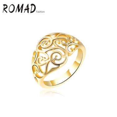 Buy ROMAD Fashion Unique Hot Charm Metal Copper Gold Plated Hollow Ring Party Wedding Engagement Jewelry Accessory Women Girl