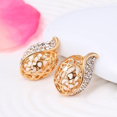Fashion Hollowed-out Jewelry Set Alloy Rhinestone Necklace Earrings Women Jewelry