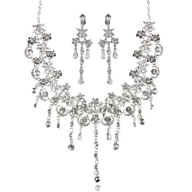 Modische Frauen-Zink-Legierung Dazzling Strass Kristall Anhänger Halskette und Ohrringe Brautschmuck für die Braut Hochzeit Geschenk