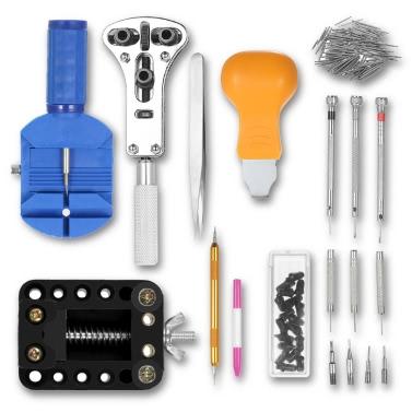 144PCS Reloj Profesional Herramienta de Reparación Kit Relojera Abrelatas de Vinilo Removedor de Enlaces Spring Bar Set W / Carry Bag