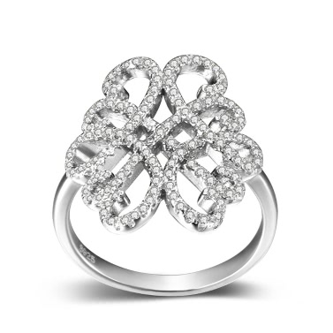JURE 925 Sterling Silver Ring Zirconia Wedding Engagement Ring Proposal Bridal Halo Replacement