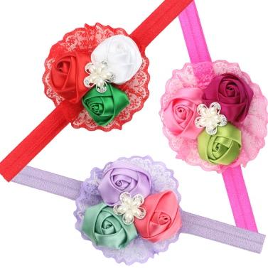 3Pcs Kids Babyartikel Mädchen Kleinkinder süße Blume Rose Spitze Perlen Stirnband Hairband Kopfbedeckung für Säuglinge