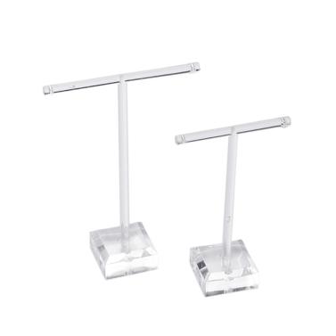 2 Bar T Stand Holder Set Display Rack Jewelry Organic Glass Lever Earrings