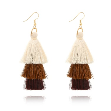 Fashion Retro Bohemia Three-layer Color Long Fringe Dangle Hook Earrings for Women Jewelry