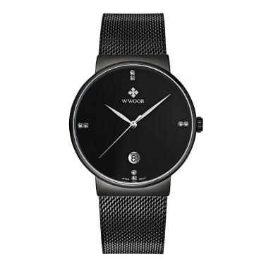 WWOOR Ultra Thin Mode Luxus-Diamant-Quarz-Ananlog Mann lässig-Armbanduhr-Edelstahl Einfachheit Männer Dekorative Uhr + Watch Box