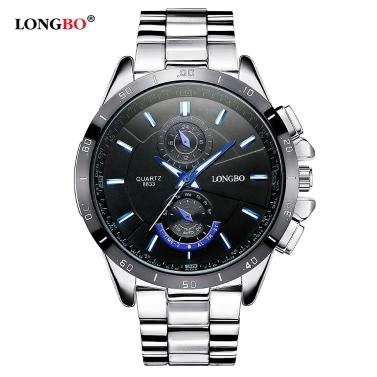 LONGBO Brand New Art und Weise Sports Armbanduhr Luxuxquarz Uhren Herren-Legierung Bügel-Uhr-Mann Wasserdicht Military Watch 8833