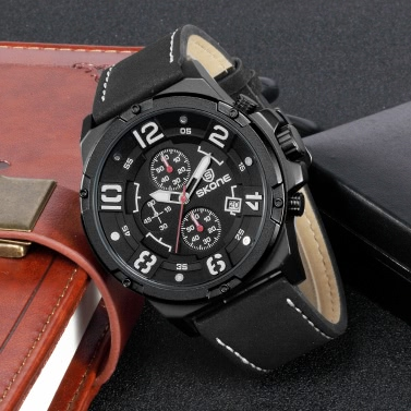 SKONE Fashion Casual Watch 3ATM Water-resistant Quartz Watch Luminous Men Wristwatches Male