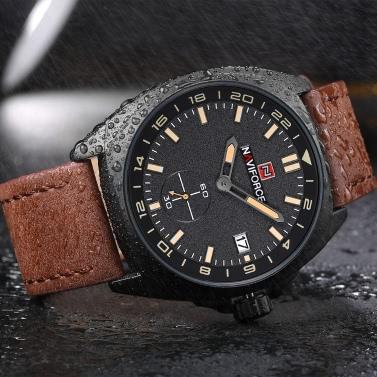 NAVIFORCE Fashion Genuine Leather Quartz Men Watch Sports Style 3ATM Water-Proof Man Casual Wristwatch Calendar + Box