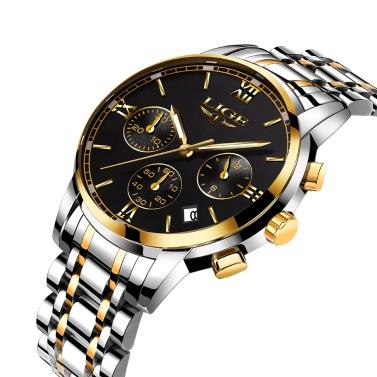LIGE Fashion Luxury Stainless Steel Men Watches 3ATM Water-resistant Quartz Watch Luminous Sport Man Wristwatch Male Relogio Musculino Chronograph