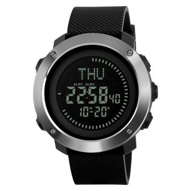 SKMEI Hommes 5ATM Water-resistant E-Compass LED Montre électronique Sports de plein air Montres numériques Rétro-éclairage Alarme / Chronomètre / Compte à rebours / Calendrier Date Fenêtre / Heure mondiale