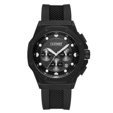 Cadisen Watch Men Sport Chronograph Clock Quartz Wristwatch Silicone Strap Watch Men