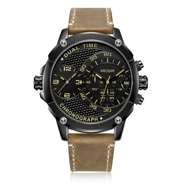 MEGIR 2093G Mann Uhr Quarz Sport Dual Zeitzone Leder Uhr Digital Analog Wasserdichte Armbanduhr mit Geschenkbox