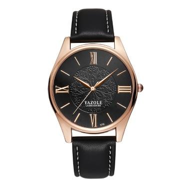 YAZOLE 376 Quarz Armbanduhr PU Leder Römische Skala Vintage Klassische Mann Uhr