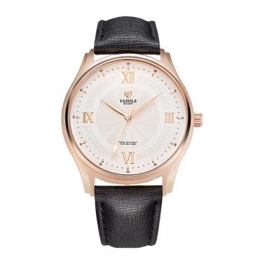 YAZOLE 426 Leder Uhr Quarzuhr Römische Skala Tägliche Wasserdichte Einfache Business Armbanduhr