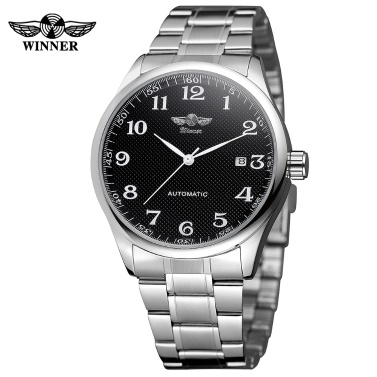 WINNER 458 Men Watch Semi-Automatic Mechanical Watch Time Calendar Fashion Casual Stainless Steel Strap Male Wristwatch Relogio Masculino