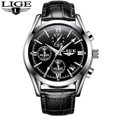 LIGE 9839 Quarz-Uhr-einfache Männerzeitkalender-Anzeigen-Armbanduhr