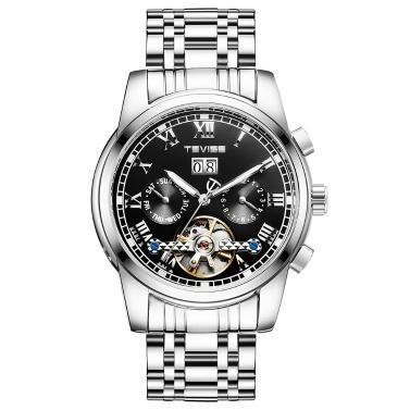 TEVISE 9005 Hochwertige Skeleton Automatische Männer Mechanische Uhr Mondphase Edelstahl Uhr Herren Business Männer Armbanduhren Relogio Masculino