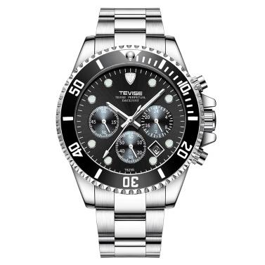 TEVISE T823 Marke Herrenuhr Luxus Quarzuhr Sport Edelstahl Uhr Relogio Masculino für Geschenk