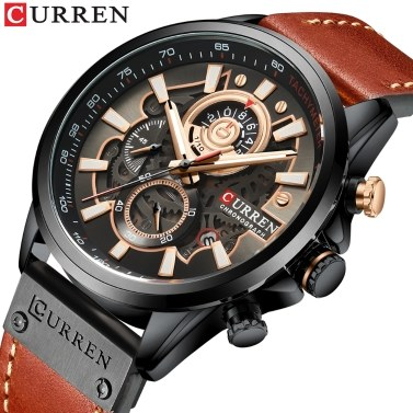 CURREN Men Watch Quartz Movement Leather Strap Time & Calendar Display Stopwatch Function 3ATM Waterproof Male Fashion Wristband for Business & Daily Life