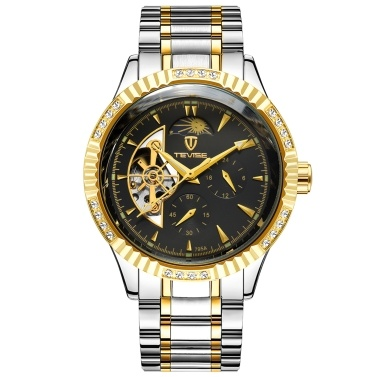 TEVISE Men Automatic Mechanical Watch Stainless Steel Strap Time & Moon Phase Display 3ATM Waterproof Male Fashion Watches for Business & Daily Life (Box Packaged)