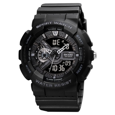 SKMEI Reloj electrónico digital de cuarzo para hombre Modo de hora dual Fecha Semana Reloj despertador Retroiluminación 5ATM Impermeable Moda masculina Relojes deportivos Pulsera para la vida diaria Regalos para hombres de negocios