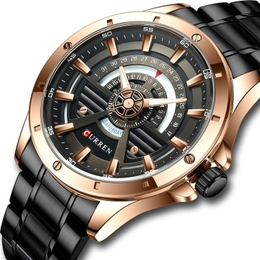 CURREN Men Quartz Watch Classic Male Fashion Wrist Watch with Stainless Steel Band Luminous Pointer 3ATM Waterproof Calendar Week Display for Daily & Business