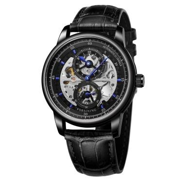 Hohle automatische mechanische Herrenuhr mit Lederband Fashion 3ATM Armbanduhr