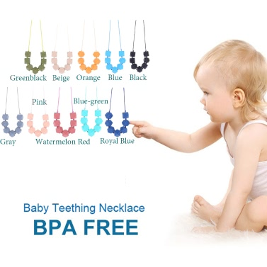 100% Food Grade Teething Teether Necklace Soft Beads for Chew Baby Toddler Nursing Jewelry Toy for Mom to Wear BPA Free