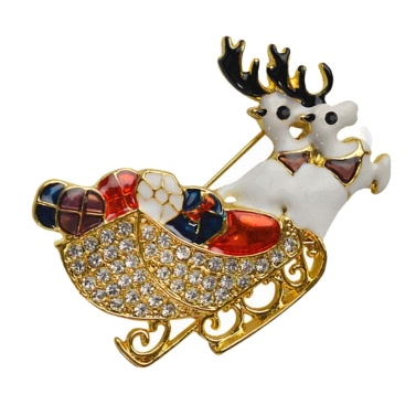 New Fashion Shining Rhinestone Crystal Double Deers Animal Brooch Collar Clip Pin Clothes Accessory Jewelry Scarf Buckle for Holiday Party Gift Christmas