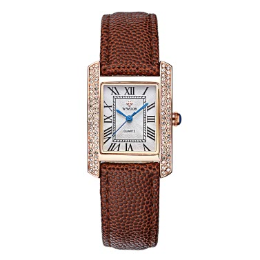WWOOR 2016 Fashion Marke Luxus-Frauen-Uhr-Diamantrhinestone-echtes Leder-Bügel-Quarz-Damen-lässige Armbanduhr 30M Water-Proof-Uhr + Storage Box
