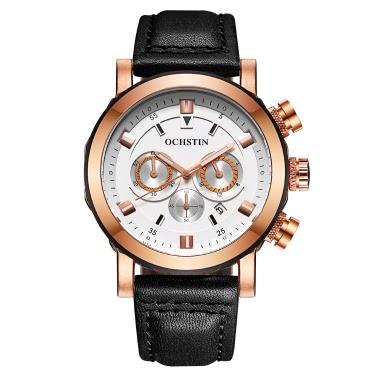 OCHSTIN 2017 Art- und Weiseeuxuxmann-Uhr-echtes Leder-Quarz-leuchtende Armbanduhr Wasser-Beweis-Chronograph-Mann-beiläufige Uhr + Kasten