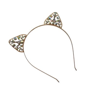 Fashion Cat Ears Hair Hoop Headband for Women Cute Cat Ears Crystal Crown Tiara Hairband Princess Headdress