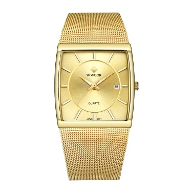 WWOOR Men Watch Square Quartz Stainless Steel Strap Sport Clock Wristwatch 5ATM Waterproof Calendar Fashion Casual Male Watches