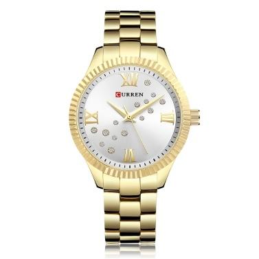 CURREN 9009 Damenuhr Quarzwerk Kristall Armbanduhr Einfache Kausal Geschenk für Frauen