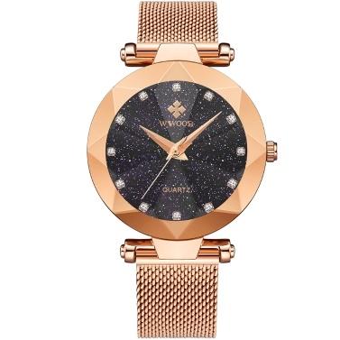 WWOOR 8869 Frauen Quarzuhr Edelstahlarmband Sportuhr Armbanduhr 3ATM Wasserdichte Mode Lässig Weibliche Uhren