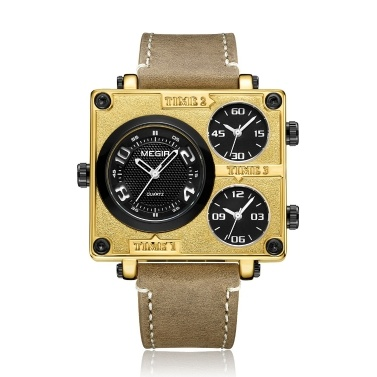 megir 2069 Retro Square Dial Quarz Herrenuhr Sport Armbanduhr Multi Time Zones 3ATM Wasserdicht 3 Zifferblätter Square Watch für Männer