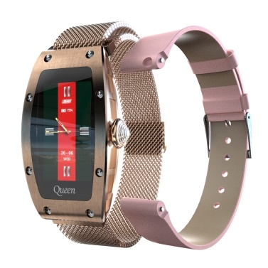 LOKMAT QUEEN 1.14-inch Smart Watch for Women Leather & Milanese Dual Strap