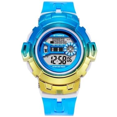 SYNOKE Digitaluhr mit 7-Farben-LED-Hintergrundbeleuchtung 30M wasserdicht Studenten Sportuhren Zeit Woche Datumsanzeige Stoppuhr Wecker Mode-Armband für Männer Frauen Geburtstagsgeschenk Festivalgeschenke