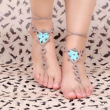 Cotton Thread Crochet Foot Chain Bracelet Anklet Flower Geometric Pattern Beach Barefoot Sandal White