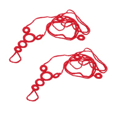 Cotton Thread Crochet Foot Chain Bracelet Anklet Beach Barefoot Sandal with Decorative Circles Red