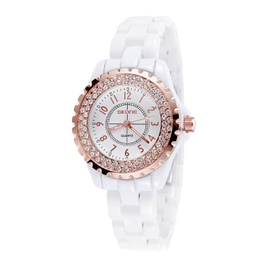 SKONE Fashion Cool Ceramic Waterproof Watchband Vintage Excellent Rhinestone Embedded Delicate Wristwatch