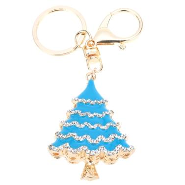 Fashional Jewelry Hollow Shinning Rhinestone Aureate Christmas Tree Pendant Key Ring Key Chain