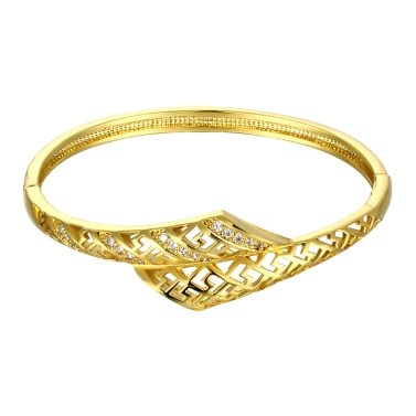 Brass Bangle Bracelet Embedded with AAA Zircon with An Opening & Hollow Lines Golden & Rose Golden Fashional Accessories for Women