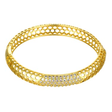 Hollow Hexagons Brass Bangle Bracelet Embedded with AAA Zircon with An Opening Golden & Rose Golden Fashional Accessories for Women