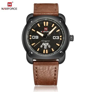 NAVIFORCE Mann beiläufige Art und Weise Sports Armbanduhr-Uhr 3ATM Wasserdicht PU-lederner Bügel-Mann-Quarz-Armbanduhr mit Kalender-Funktion