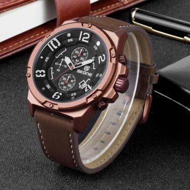 SKONE Fashion Casual Watch 3ATM Water-resistant Quartz Watch Luminous Men Wristwatches Male