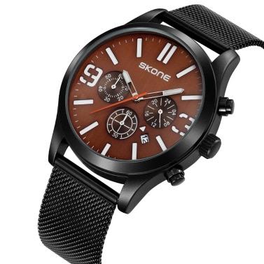 SKONE Fashion Casual Simple Watch 3ATM Water-resistant Quartz Watch Men Wristwatches Male Calendar Chronograph