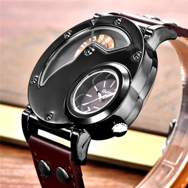 Oulm Watch Two Time Zone Man Quartz Watches Brand Luxury Leather Strap Sport Wristwatch With Two Movement Male Clock Relogio Masculino (White)