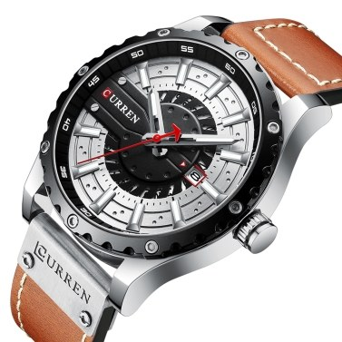 CURREN Men Watch Quartz Movement Leather Strap Time & Calendar Display Luminous Design 3ATM Waterproof Male Fashion Wristband for Business & Daily Life