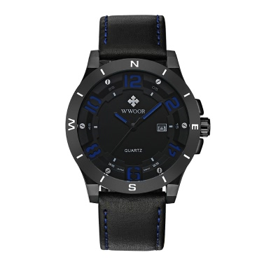 WWOOR Mode Luminous Sport-Art-Quarz-analoge Uhren Herren-echtes Leder-Kalender 30M Water-Proof Mann beiläufige Armbanduhr + Watch